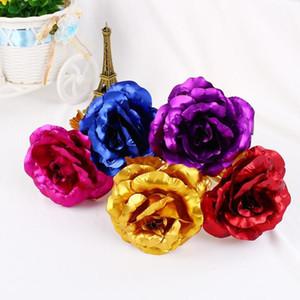 Romantik 24K Kaplama Golden Rose Flower Altın Folyo Kaplama Yapay Düğün Şenlikli Parti Valentine Günü Hediye