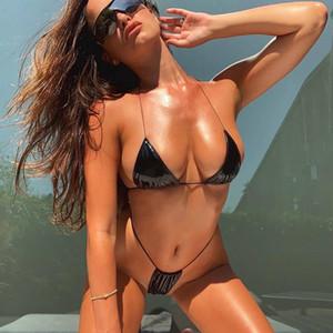 Micro Bikini string sexy Vinyl Swimwear women thong bathing suit halter solid color swimsuit Side tie G-String bikini set 2020