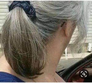 Cabelo Real cinza rabo de cavalo peruca rabo de cavalo reto curto alta mulheres rabo de cavalo extensão sal e pimenta prata cinza naturall 120g