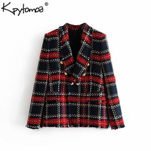 Vintage Kruvaze Yıpranmış Kontrol Tüvit Blazers Coat Kadınlar 2019 Moda Cepler Ekose Bayanlar Giyim Rahat Casaco Femme D19011104