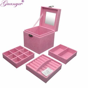 guanya Three Layers Velvet Jewelry Box Anillo Collar Estuche de almacenamiento Franela Maquillaje Organizador mujeres Valentine's Day Gift Box