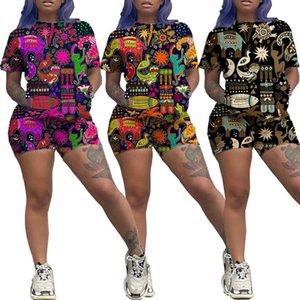 Kadın Tasarımcı İki Adet set marka Eşofman Hayvan Baskı Hawai Tarzı Kısa Kollu T Shirt + Şort Kadın Kıyafetler Yaz Suit Giyim
