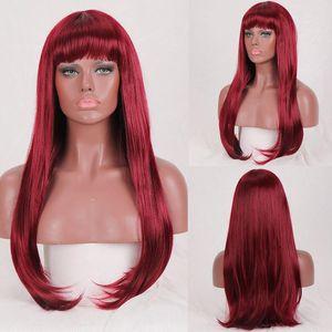Longo sintético Straight Shangke Mulheres perucas para as mulheres negras Brown Red loira peruca cosplay resistente ao calor diário Wig