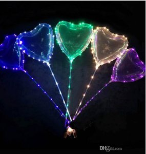 Valentine's Day gifts led love heart bobo ball balloons night lights clear balloon flash air balloon for wedding party decoration