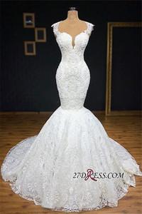 Gorgeous Jewel Neck Imágenes reales Con encaje completo Sirena Vestidos de novia Apliques de abajo Vestidos de novia sin mangas con escote redondo Plus Size