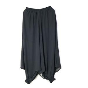 Z-zoux women pantalón irregular negro gasa ancho pantalones asimetría más tamaño verano tobillo longitud pantalones mujeres 2019 nueva moda