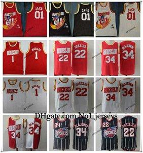Los nuevos Mens 01 Jack HoustoncohetesNBA Cactus Jack Tracy McGrady de la vendimia 1 Clyde Drexler 22 Hakeem Olajuwon jerseys del baloncesto