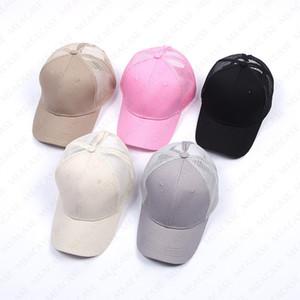 15 cores da moda Marca Baseball Caps D7605 Plain Messy Bun Snapback Cap Verão Bone Boutique Mulheres Praia malha Chapéu de basebol cor sólida