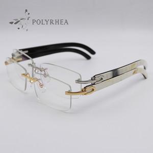 Luxe Corne de buffle Lunettes Hommes Femmes Rimless lunettes optique Marque Designer meilleure qualité Black Inside Corne de buffle blanc avec la boîte et les affaires