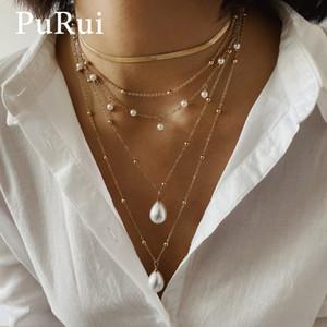 PURUI Bohemian Collier en couches Collier Imitation Perle Pendentif Collier Gold Color Chain Collier de cou pour femme Femme Mode Bijoux Cadeau