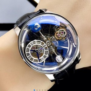 Precious men's wristwatch Swiss quartz movement size 45mm x 18mm blue-light Phantom Crystal Glass 316 steel leather strap pin buckle