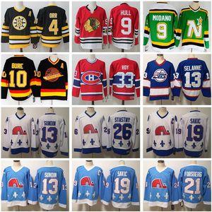 Jersey Vintage hockey 4 Bobby Orr 9 Hull Mike Modano 33 Patrick Roy 10 Pavel Bure 13 Teemu Selanne 19 Joe Sakic Peter Stastny 21 Forsberg