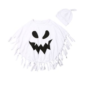 2019 Toddler Infant Kids Baby Boys Girls Blouse Halloween Cloak Hat Cape Fancy Cosplay Ghost White