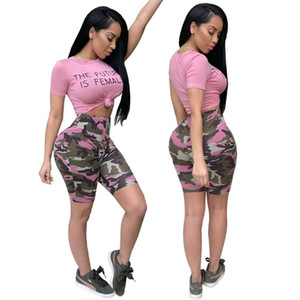 Set pedaço Carta Camouflage Womens Impresso Bodycon Two Top Curto + bicicleta Shorts Casual Sportswear Treino 2 peça Outfits