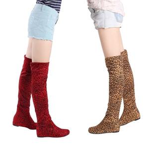 HENGSONG Женщины Boots Осень Зима Leopard Высота увеличения сапоги над коленом бедро высокие Длинные плоские Повседневный вислоухие обувь