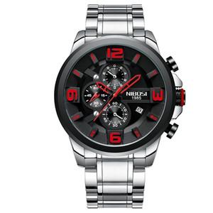 NIBOSI Herrenuhr Chronograph Herren-Sport-Uhr-Militärquarz-Uhr-Mann-Kreative großes Zifferblatt Uhr Relogio Masculino Reloj Hombre