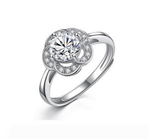 Wholesale Solid s925 Sterling Silver Rings Zircon CZ Damond Rose Flower Opening Ring Valentine's day Gift for Lover