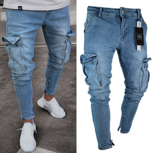 Moda Erkekler Skinny Stretch Biker Jeans Slim Fit Denim Pantolon Pantolon Pocket