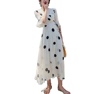 Spring summer 2020 New Amazon Womens dress French retro apricot Polka Dot Chiffon Skirt showing thin dress fashion girl