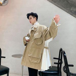 EWQ / erkek giyim Niş çok cepli çalışma ceket gevşek renk bloğu patchwork erkek 9Y3138 için büyük boy bağbozumu kat kişiselleştirilmiş