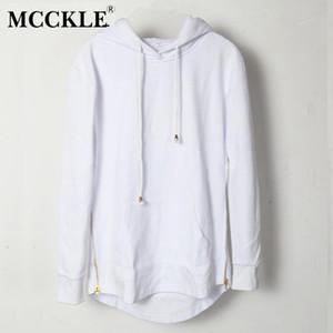 Sólido Mcckle del estilo británico con capucha para hombre camiseta del inconformista de Hip Hop de Calle de Oro de la cremallera lateral de los hombres Extended Cut Arco camisetas de manga larga tendencia