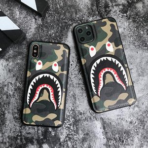 Shark mouth camouflage leather case soft phone case for iphone 11 pro xr xs max luxury Fashion Classic case for iphone 7 8 plus cover