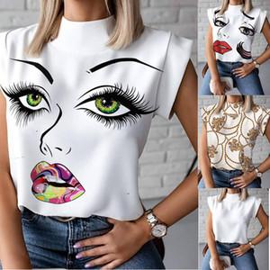 Estate delle donne senza maniche maglietta faccia 3D Moda stand White Collar T 20ss Abito firmato nuova delle donne