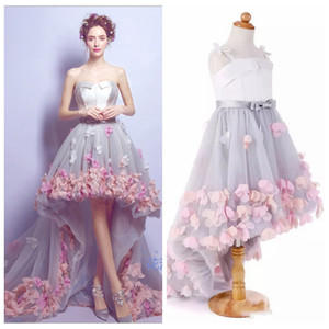 Real Photos High Low Prom Dresses With 3D Flowers Adorned Princess Mother And Daughter Best Matching Party Gowns Custom Flower Girls Dress