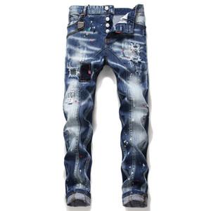 High Quality European Italy jeans Fashion Brand Men slim jeans pants mens denim trousers zipper Blue hole Pencil Pants
