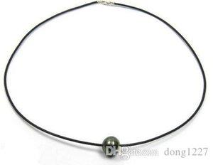 12mm natural tahitian negro collar de perlas 18 pulgadas Cadena de cuero