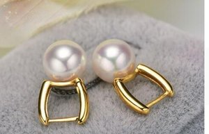 charming 10-11mm south sea natural white pearl earring 18k