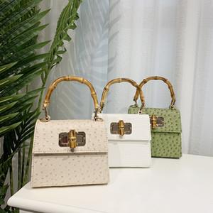 Poignée en bambou Vintage Femmes sacs à main en alligator Sacs à bandoulière Pu Sac bandoulière en cuir d'autruche petits porte-monnaie