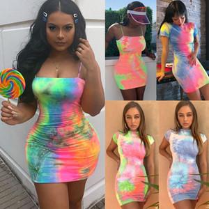 manera de las mujeres del verano Tie-dye vestido sin mangas atractivo de las mini Vestido con el cuerpo vestidos de diseño delgado streetwear para mujer del club nocturno ropa de talla grande