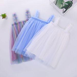 INS Baby Girls Tutu Dresses дети слинг марлевая юбка новая летняя вечеринка элегантный сплошной цвет Агарик кружева марлевая юбка 3 цвета 2020