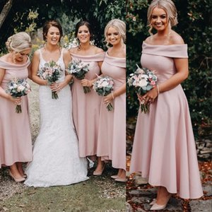 Vintage Blush Pink Arabic Cheap Bridesmaid Dresses Off Shoulder Long For Weddings High Low Ankle Length Plus Size Formal Maid of Honor Gowns