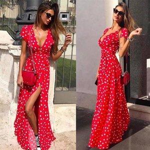 Summer Ladies Long Dress Red White Dot Beach Dress Maxi Dress Women Evening Party Sundress Vestidos De New