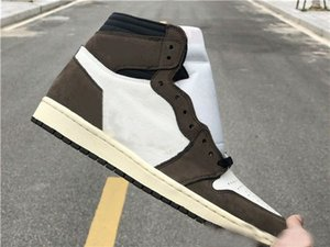 Alta qualità Travis Scott 1 High Cactus Jack Mens Basketball Shoes Shoes 1s Sail Nero Testa di Mocha Moda Outdoor Sports
