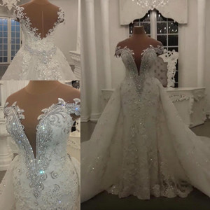 Foto reali Mermaid Abiti da sposa con gonna staccabile Paillettes scintillanti Perline di cristalli Appliques Sheer Neck Backless Abiti da sposa lunghi