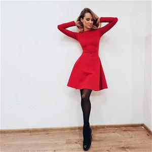 Maniche lunghe nuove donne di modo O-Collo vestito aderente sottile casuale elegante mini del partito di promenade Vintage femminile Vestidos