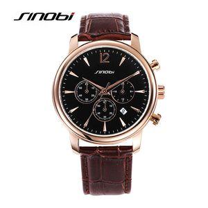 SINOBI Mode Causal Herrenuhr Top-Marke Luxus Kalender Chronograph Lederband Armbanduhr Geschäft Montre Hommes