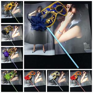 Parti Masques Or Tissu Coated Fleur vénitienne côté de partie de mascarade masque bâton Carnaval Halloween Masque ZZA1486