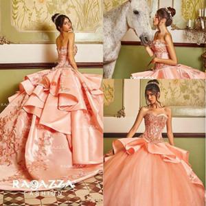 Blush Peach Beaded Ball Gown Vestidos de quinceañera Sweetheart Neck Appliqued Sweet 16 Dress Satin Sweep Train Lentejuelas Vestidos de mascarada