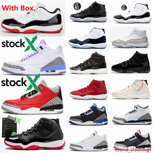 11 Low Bianco Bred Concords Space Jam Mens scarpe 3s Red Cemento UNC Womens Basketball Sneakers 11s Palestra Red With X