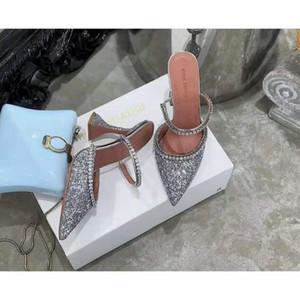 Hot Sale-Совершенная Official качества Амина Muaddi Женщины 95mm Джильда Украшенные блестками Мулы Амина Muaddi Кристалл Высокий каблук Сексуальная обувь Сандалии