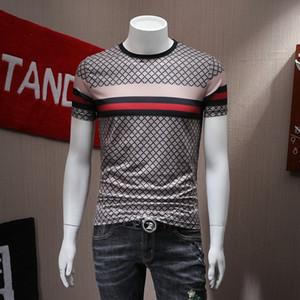 Erkekler çizgili ızgarası merserize pamuk kısa kollu tişört erkek 2019 yaz yeni baskı yarım kollu tişört gelgit