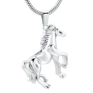 h10072 Argent inoxydable Memorial Running Horse Crémation en acier Pendentif pour Ashes Urn Collier Keepsake pour les hommes Bijoux
