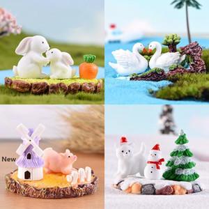 Mikro manzara Dekor rakam Hayvan Minyatür Bahçe Tavşan Swan Domuz Ayı yosun Aksesuar Ilkbahar Yaz Sonbahar Kış Reçine Craft FFA2836