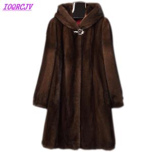 mujeres de la capa 2018 otoño e invierno más el tamaño 6XL capa de piel con capucha largo y grueso invierno cálido hembra de la tapa IOQRCJV H411