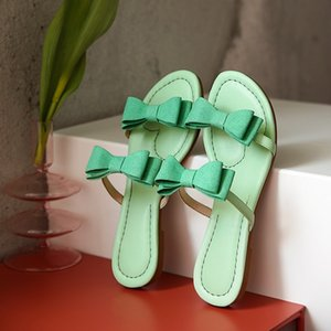 kmeioo 2020 dolci scarpe femminili donna bowknot scivoli piatti Infradito Comfort pantofole Ladies Beach Fashion sandali scarpe
