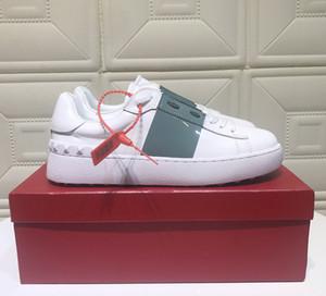 impresión de cuero real de la zapatilla de deporte de las nuevas mujeres de lujo del diseñador PORTOFINO hombres coloridos zapatos casuales zapatos Italianos en venta con la caja original